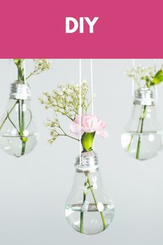 Upcycled Crafts, Repurposed, Creative Decor, Home Accents, Light Bulb, Glass Vase, Flowers, Design, Diy