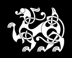 An animal displaying the characteristic features of the Broa style (c. 750 – This illustration is one of a set of seven animals each designed in one of the seven styles of the Viking Age. Get the graphics set here Viking Dragon, Celtic Dragon, Celtic Tribal, Celtic Art, Viking Age Art, Tribal Animals, Viking Designs, Islamic Art Calligraphy, Calligraphy Alphabet