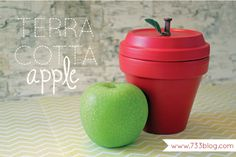 Terra Cotta Apple - Teacher Gift Idea!  Fill with candy or slide a gift card inside for Christmas! :)