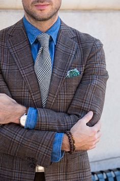 Men's Fall Outfit Idea Plaid Blazer with Denim Shirt and Tie - He Spoke Style