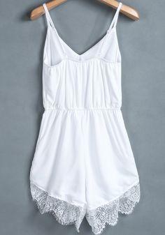 96b49579c19 White Plain Lace Sleeveless Spandex Jumpsuit Shorts - Shorts - Bottoms Lace  Jumpsuit