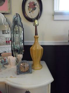 Mid-Century Modern Gold Ceramic and Teak Lamp by MadGirlRetro