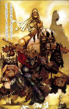 Monkey King by Katsuya Terada Art And Illustration, Dark Fantasy Art, Fantasy World, Dcc Rpg, Arte Steampunk, Character Art, Character Design, Serpieri, Journey To The West