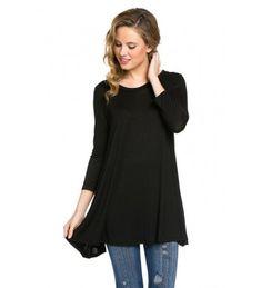 Women Lace Long Sleeve Tunic Top Blouse Casual Loose Tunic T-Shirt Dress -  Black - CJ187QUSHX8 33cc9aa79