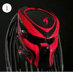 Alien Predator Motorcycle Helmet Street Fighter - Red with Black #CellosHelmetCustom