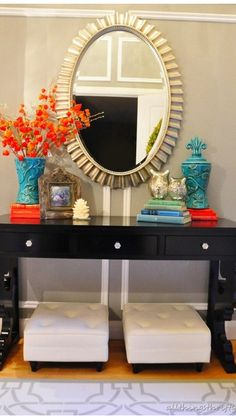 Entry Table With Mirror, Entryway Console Table, Entryway Bench Storage, Entryway Decor, Entryway Ideas, Entrance Table, Console Tables, Small Bedroom Interior, Home Decor Bedroom