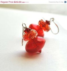 Red Ruffle Earrings Red Glass Dangle Earrings Christmas by bstrung