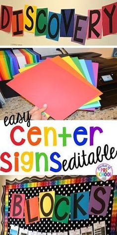 Editable Center Signs - Pocket of Preschool FREE EDITABLE Center signs! Easy to make classroom decor for preschool up to grade! Will match any classroom theme. Preschool Center Signs, Preschool Classroom Themes, Preschool Rooms, Preschool Centers, Classroom Signs, New Classroom, Classroom Organization, Preschool Decorations, Classroom Ideas