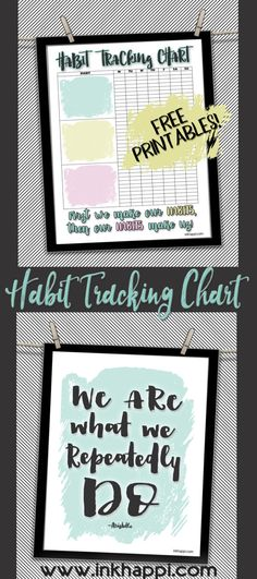 Forming New Habits Tracking Sheet and motivational quote. #freeprintables #cute #habits #habittrackingchart #quotes #motivation