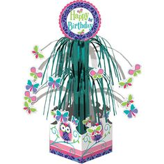 Birthday Party Supplies OWL PAL & BUTTERFLY HAPPY CASCADE CENTERPIECE in Home & Garden, Greeting Cards & Party Supply, Party Supplies | eBay