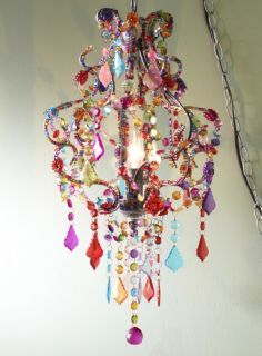 Molly n me multi flourish hanging lamp by molly n me httpwww multi color beaded chandelier mozeypictures Images