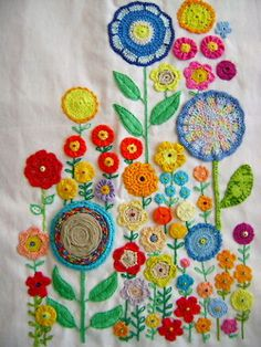 When I was little I use to admire they needlework my mother did.  This inspires me to add something like this to the quilt I will make one day.