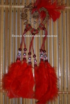 Red with Red Feathers Heart Vine Shaped Dream Catcher