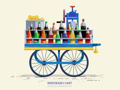 This series is dedicated to the quint essential pushcarts of India. The supers start on the streets that are ubiquitous on most indian cities yet very… Indian Illustration, House Illustration, Stock Design, Drawing Sketches, Drawings, Sketching, Pop Art Wallpaper, Indian Folk Art, Truck Art
