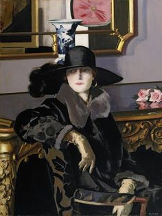 ▴ Artistic Accessories ▴ clothes, jewelry, hats in art - Francis Campbell Boileau Cadell | A Lady in Black