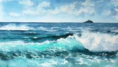 Judi Trevorrow, Professional artist, working mainly in acrylic and watercolour. Original paintings on sale through Gallery 31 in Falmouth. Sea Paintings, Original Paintings, Watercolor Artists, Landscape Art, Watercolors, Coastal, Art Photography, Aqua, Mermaid