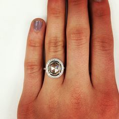 It's Friday I'm in LOVE! #friday #weddingring #rosecut #vintage #handcrafted #halo #sparkle #diamonds #love #engaged #singlestone #dtla @singlestonemissionstreet