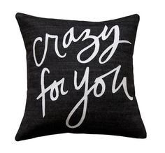 Crazy for You Pillow Black and White by BrightJuly on Etsy
