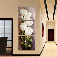 3 Piece Oil painting Living Room Modern Wall Painting Flower Decorative Wall Art Painting Pictures Print On Canvas(No Frame) - TakoFashion - Women's Clothing & Fashion online shop Wall Art Pictures, Pictures To Paint, Print Pictures, Painting Pictures, Wall Painting Flowers, Images Murales, Decorating With Pictures, Decoration Pictures, Flowers Decoration