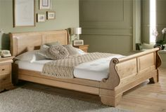 Toulouse Oak Wooden Sleigh Bed - King Size Bed Frame Only