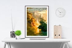 Lord of the Rings & The Hobbit inspired postcard style print featuring the Elven outpost of Rivendell!