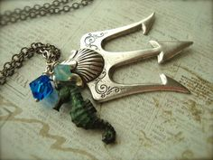 POSEIDON - Percy Jackson Lightning Thief Trident Necklace in Silver | JetaimeBoutique - Jewelry on ArtFire
