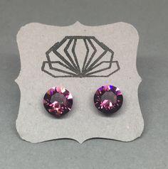 Amethyst Swarovski Crystal Chaton Earrings in Hypoallergenic Stainless Steel Posts by SparkleAndSteel on Etsy