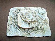 Ceramic  Lace Tea Party Set Platter Plates and tea bag by dgordon, $68.00