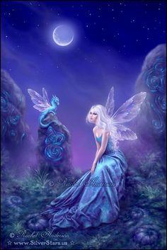 Luminescent ~ Fairy & Dragon artwork by Rachel Anderson silverstars. Fantasy Kunst, Fantasy Art, Fantasy Fairies, Fantasy Love, Elfen Fantasy, Unicorn And Fairies, Dragon Artwork, Fairy Pictures, Love Fairy