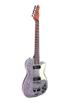BootLegger Guitar Rye Rocker Purple Silver Sparkle
