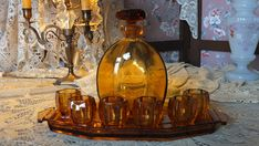 Antique French Art Deco liquor drinking set complete w tray carafe and glasses amber glass shabby chic gentlemen bachelor accessory vintage