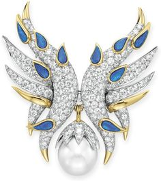 Diamond, Cultured Pearl and Enamel Brooch by Jean Schlumberger, Tiffany & Co.
