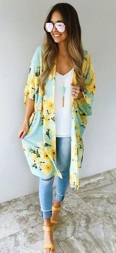 summer outfits Blue Floral Kimono + White Top + Ripped Skinny Jeans