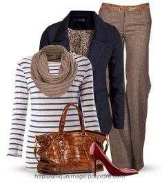 Business casual work outfit: navy blazer, white and navy striped top, brown slacks, and red heels.