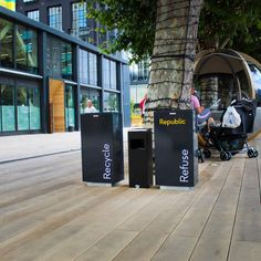 Spencer Litter bin and recycling bin for external public walkways. Urban Furniture, Street Furniture, Cycle Shelters, Cycle Stand, Outdoor Fitness Equipment, External Lighting, Public Realm, Picnic Set, Recycling Bins