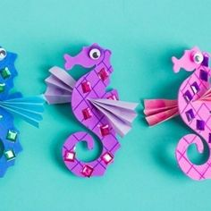 Saturday crafternoon with our super cute seahorse craft kit! photo by @designimprovised #kidscrafts #crafts #orientaltrading