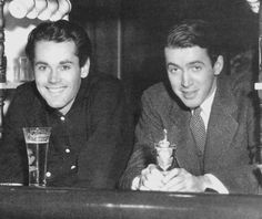 Henry Fonda and James Stewart taking a break, 1938. The two stars had been roommates in New York City while auditioning and appearing on Broadway. Fonda came to Hollywood first, and Stewart followed soon after. They roomed together again for awhile, in an apartment next door to Greta Garbo.