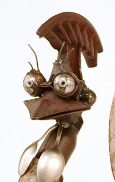 Christopher Trotter, Fighting cock head, mixed materials. Recyling Scrap Metal