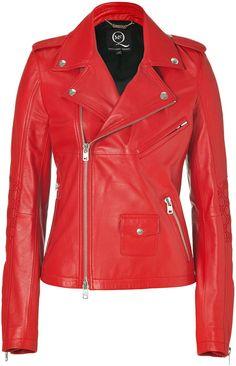 Cadmium Red Leather Biker Jacket - Lyst