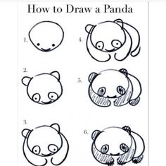 how to draw a cute little panda (: