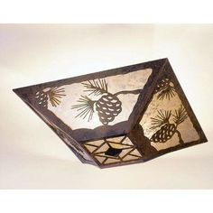 Steel Partners Pinecone Drop Ceiling Mount Finish: Black, Shade Color: Slag Glass Pretended