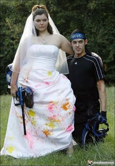 """Funny Wedding Photos Funny Wedding Photo Paint ball - More Funny Wedding Photos from Team Jimmy JoeSay """"I Do"""" to another collection of Bad Wedding Photos! These fun Horrible Wedding Dress, Worst Wedding Dress, Ugly Wedding Dress, Making A Wedding Dress, Custom Wedding Dress, Dream Wedding Dresses, Wedding Attire, Wedding Gowns, Worst Wedding Photos"""