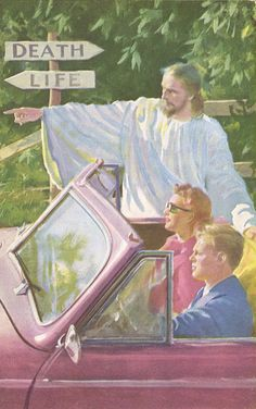 """These weird pictures of Jesus interacting with """"modern"""" people were all over my childhood. Always gave me the vague heebie jeebies, even as a kid. Still does. On the most basic level. If He's THAT accessible, and that present...why is he invisible?"""