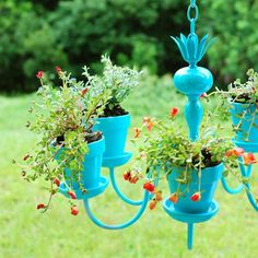 How to make an outdoor hanging plant chandelier from an old light fixture.