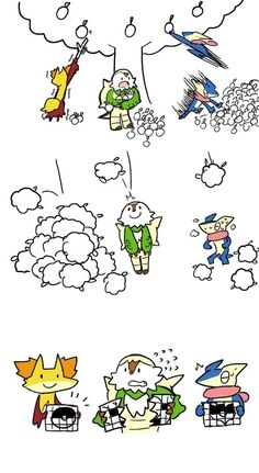 Pokemon, the starters play Poke Amie, i love that each of them have a game that theyre good at :3
