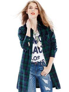 Dark Green Massive Plaid Print Belt Waist Longline Shirt   Choies  #clothings #fashionapparel #trend #gift #stylish #sale #style #fashion #Cardigan #apparel #clothing #clothingline #christmas #palysuit #shoes #boot #plimsolls #shippingonline #newarrivals
