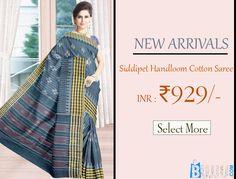 Blue Striped Border Siddipet Cotton Saree Product code: SHSA90C112 Retail price: 975/- Sale price: 929/-