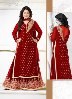 cd4bf428547 Buy Red georgette embroidered semi stitched salwar with dupatta  pakistani-salwar-kameez online