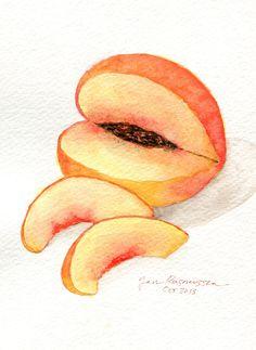 Peach watercolor. Original by Jan Rasmussen