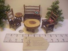 1 inch Scale 8 piece Set Rustic Miniature by RusticMiniatures, $38.00